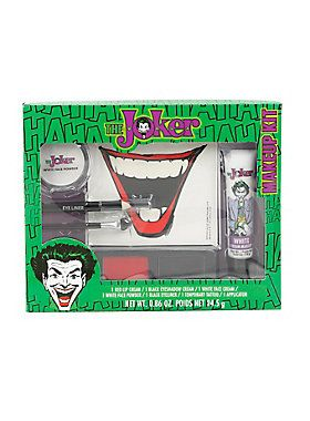 """This makeup set from DC Comics gives you everything you need to complete your classic Joker look! Contains one red lip cream, one black eye shadow cream, one white face cream, one white face powder, one black eye liner, one Joker mouth temporary tattoo and one applicator.<div><ul><li style=""""list-style-position: outside !important; list-style-type: disc !important;"""">Imported</li></ul></div>"""