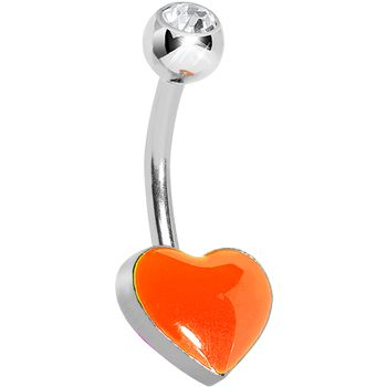 Crystalline Gem Orange Neon Heart Belly Ring #piercing #neon #bellyring #bodycandy #beauty #trending $7.99