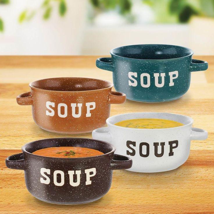 Ceramic Soup Bowls, Speckled Colored Chicken Noodle Miso Hot Soup Bowls,  4pc