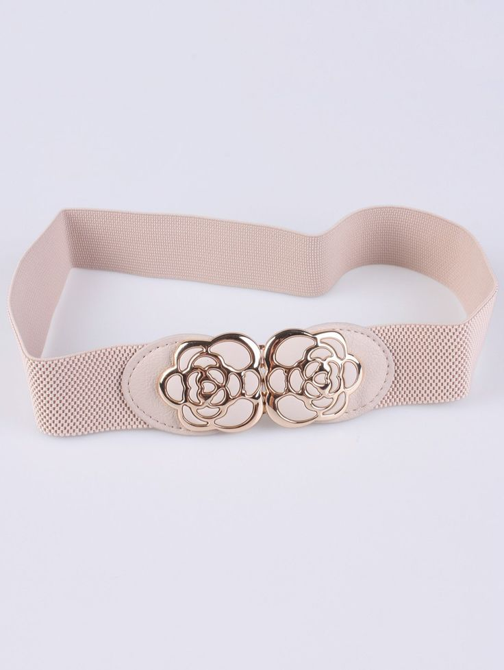Rose Carve Elastic Waist Belt - IVORY COLOR