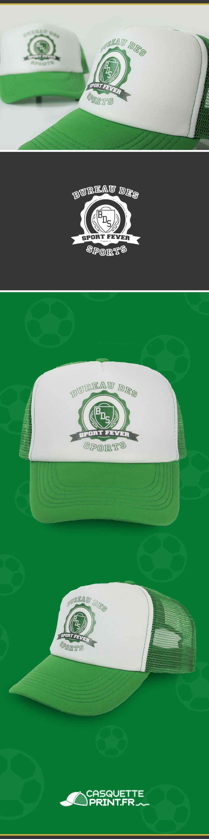 Casquette Trucker à personnaliser pour équipe de sport ou club sportif.  Créez votre casquette unique pour votre club de foot, basket ou tennis. #casquette #trucker #club #foot #sport #basket #football #soccer #green #truckerclassic #truckerjunior #casquettes #associations