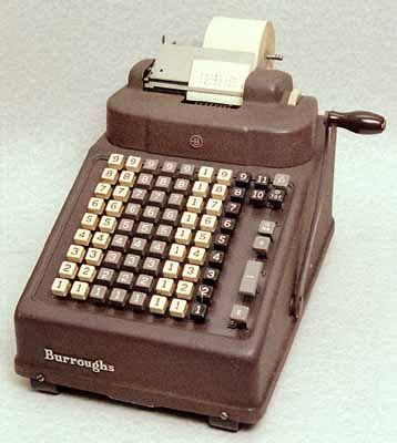 Adding Machines....my Grandma had one that looked just like this.  She used it to do her checkbook and the accounts for my Grandpa's worksite when she was hired on as bookkeeper.  We played with it all the time...along with the old time cards, log sheets, etc.  Loved the cha-chink sound it made! LOL!