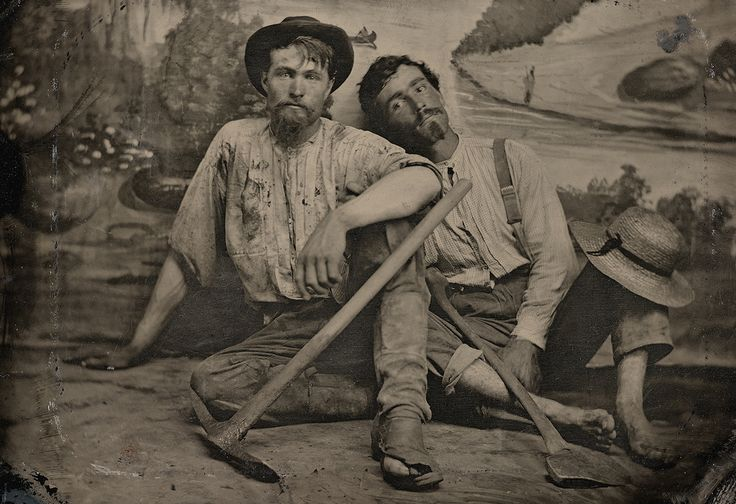 C. 1860 portrait of an unidentified pair of prospectors by an unknown photographer (collection of the Canadian Photography Institute. NGC, Ottawa)