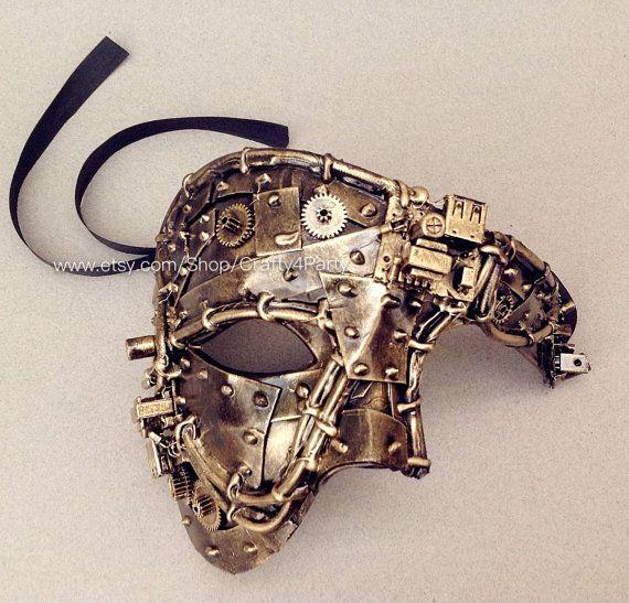 Steampunk Metalic Bronze Black Gold Phantom Mens masquerade ball mask pair