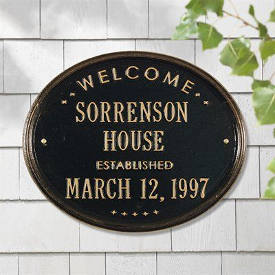 "Whitehall Products 1390 Personalized Welcome Oval ""House"" Established Address Plaque"