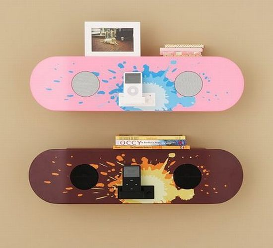 3. The Skateboard Speaker Shelf looks great for a decorative object most of us would probably like to have in our room. As you probably guessed, this design has a double functionality. You can use it as a shelf and place books, CDs or picture frames on it. Still, we think the speaker idea is a lot more interesting: this skateboard has a mp3 player pouch and two integrated speakers, which makes listening to music a real treat.-via ubergizmo