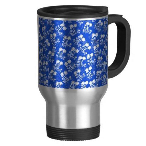 Blue White Flowers Travel Mug