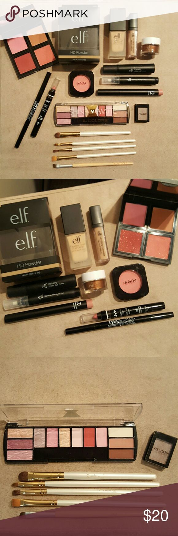 Elf, NYX, LA Colors 15 Piece Makeup/Beauty Bundle! Huge makeup bundle! Most new or barely used! Message me if you have any questions on colors/shades.  New: Elf HD powder, flawless finish foundation, blush palette, smudge pot, lip color NYX blush, two timer eye liner, jumbo lip pencil LA Colors shine vs. matte eyeshadow palette Revlon single eyeshadow    Barely used: Elf makeup remover pen, under eye primer, HD concealer The Creme eye brushes  Eco Tools liner brush, ELF Makeup