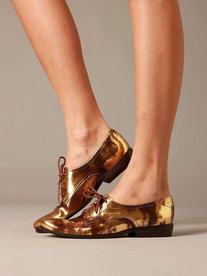 Bronze: Metals Oxfords, Fashion Clothing, Free People Clothing, For, People Metals, Shoesand Bags, Gold Oxfords, La Victoir, Gold Shoes
