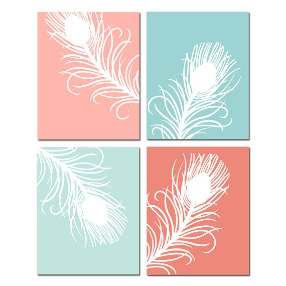 Mint And Coral Decor Mint And Coral Wall Art Peacock