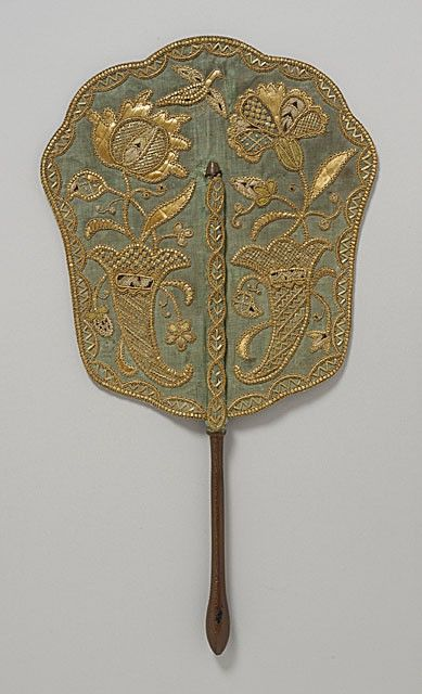 18th century embroidered French hand-held fire screen.