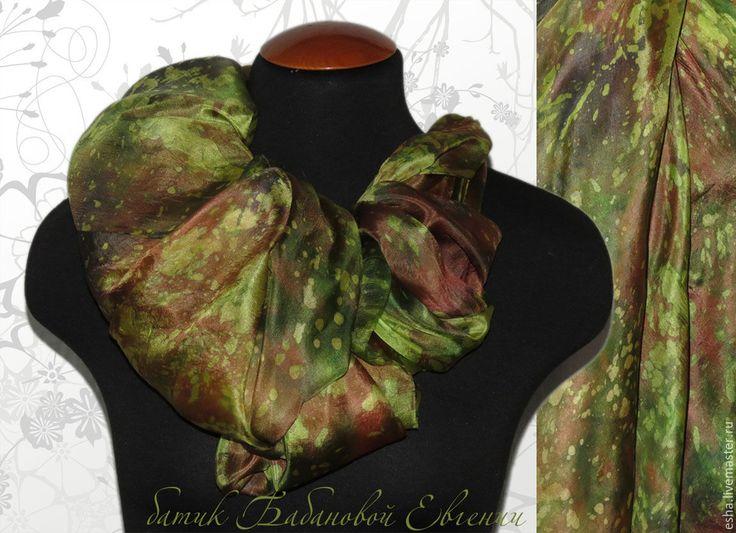 """Купить Шелковый палантин """"Лесная фея"""" батик, ручная роспись шелка - шарф шелковый"""