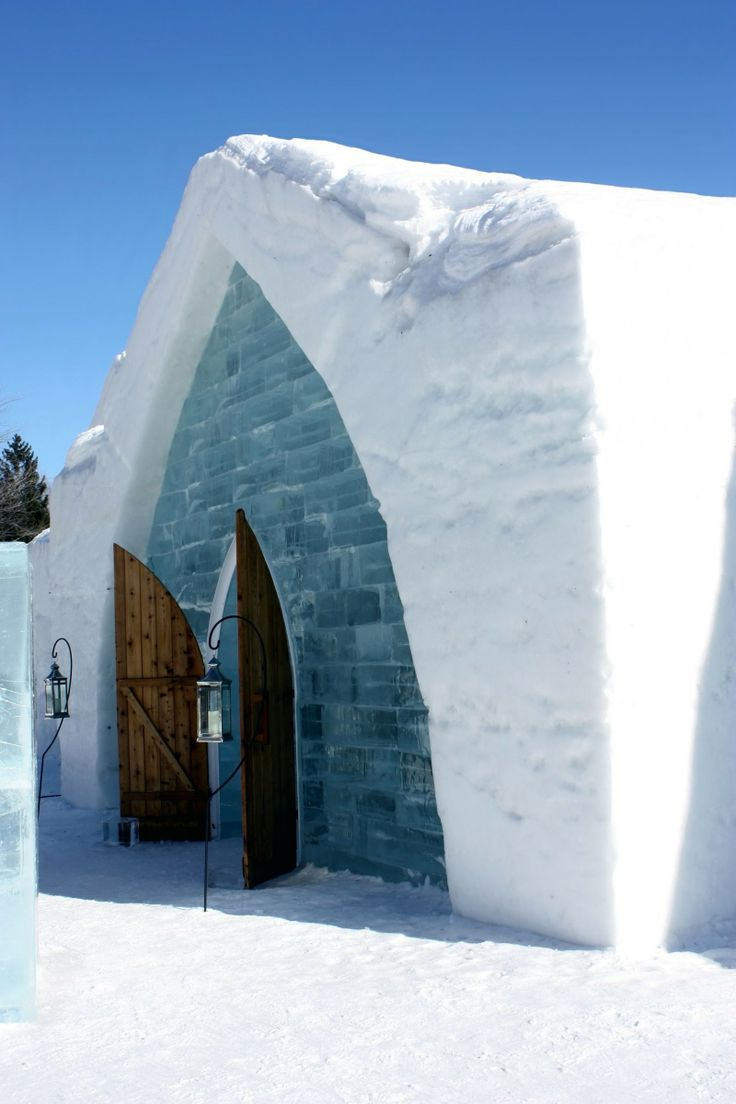 Entrance Of The Famous Ice Hotel In Quebec City Canada