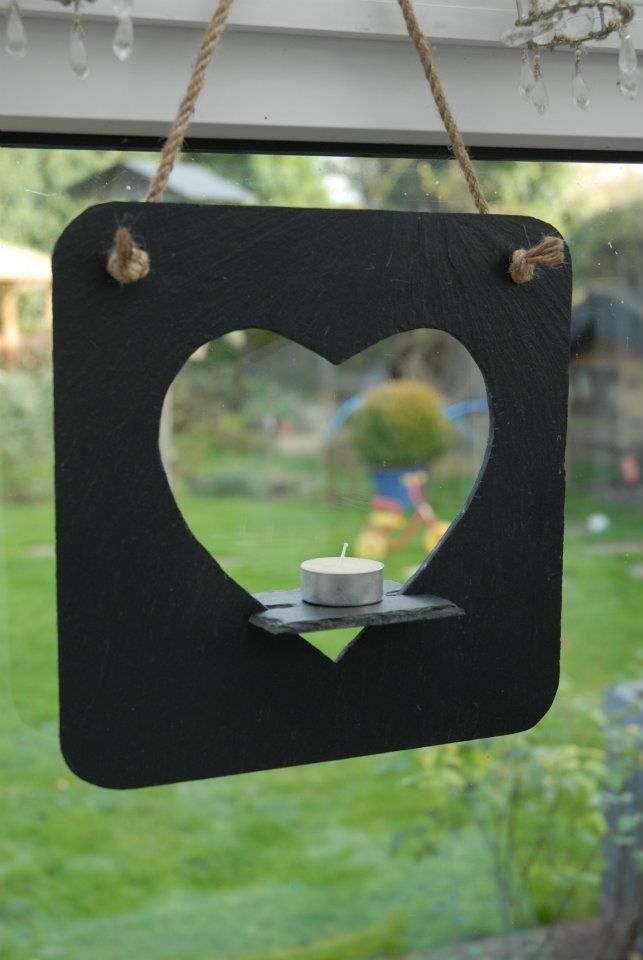 Heart shaped slate t-light holder