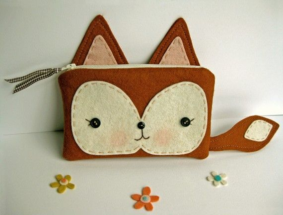 Fox Pouch, cutest thing ever.Diy Felt Bags, Ideas, Foxes Sewing, Felt Animal Purses, Stuff To Sewing, Woodland Creatures, Diy Things To Make, Foxes Pouch, Crafts