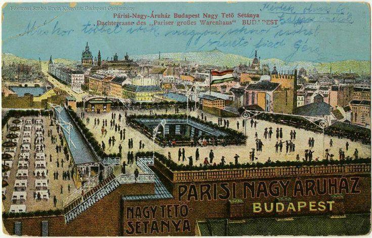 """Korcsolyapálya a Párisi Nagyáruház (Divatcsarnok, ma Alexandra Könyvesház) tetején (""""360 Bar""""), képeslap az 1910-es évekből."""
