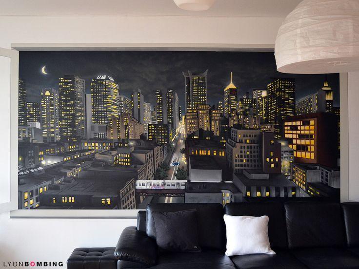 salon, czarna, skózana kanapa, obraz w salonie, panorama miasta https://www.homify.pl/katalogi-inspiracji/10902/pomysly-na-dekoracje-salonu