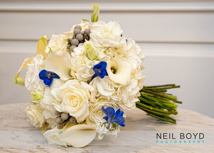 White And Blue Winter Wedding Bouquet Bridal Flowers Raleigh Weddings Kelly Odom Florist