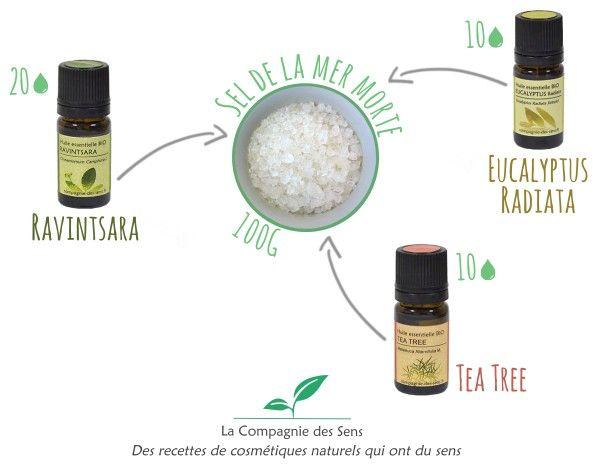Un bain qui prépare vos défenses immunitaires avec 4 ingrédients !   - 20 gouttes d'huile essentielle de Ravintsara   - 10 gouttes d'huile essentielle d'eucalyptus Radiata   - 10 gouttes d'huile essentielle de Tea Tree   - 100 g de sel de la Mer Morte