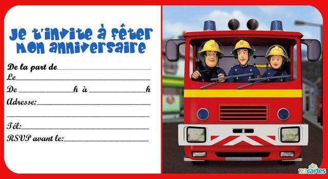 invitation imprimer sam le pompier dans le camion anniversaire eloan pinterest invitations. Black Bedroom Furniture Sets. Home Design Ideas