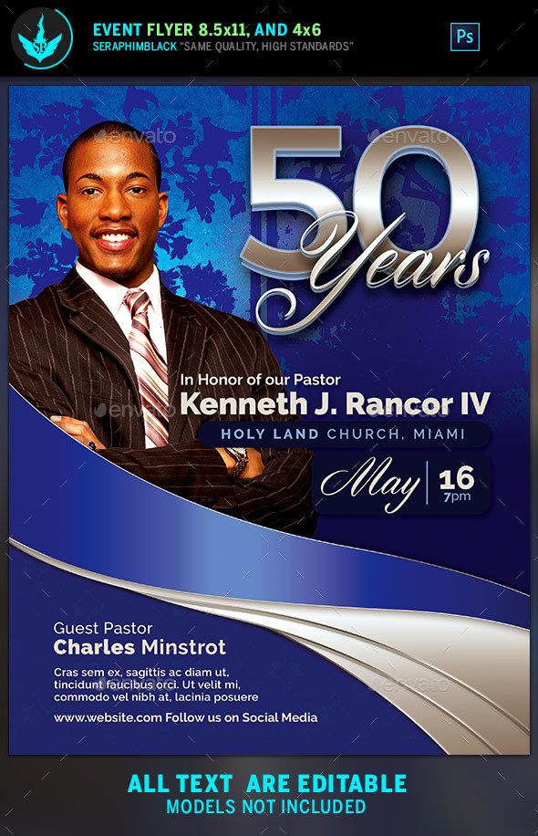 Shire Blue Pastor S Anniversary Church Flyer Template Psd