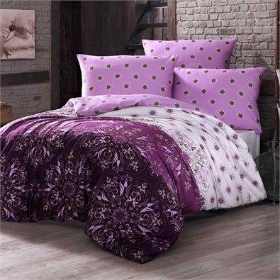 Bavlnené obliečky Alberica fialová, 140 x 200 cm, 70 x 90 cm