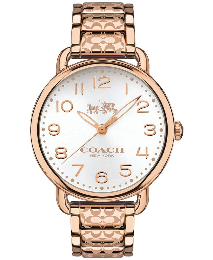 The minimalist Delancey watch gets a striking new look with a silver sunray dial and etched Signature Cs scrolling along its center links. Like all Coach watches, this richly toned design was crafted
