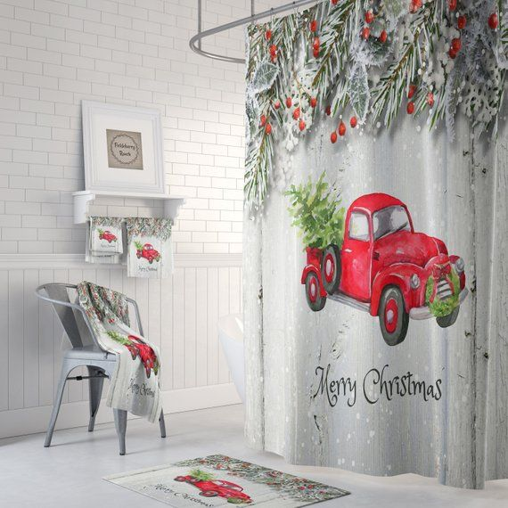 Christmas Red Truck With Tree Shower Curtain Bath Mat Etsy