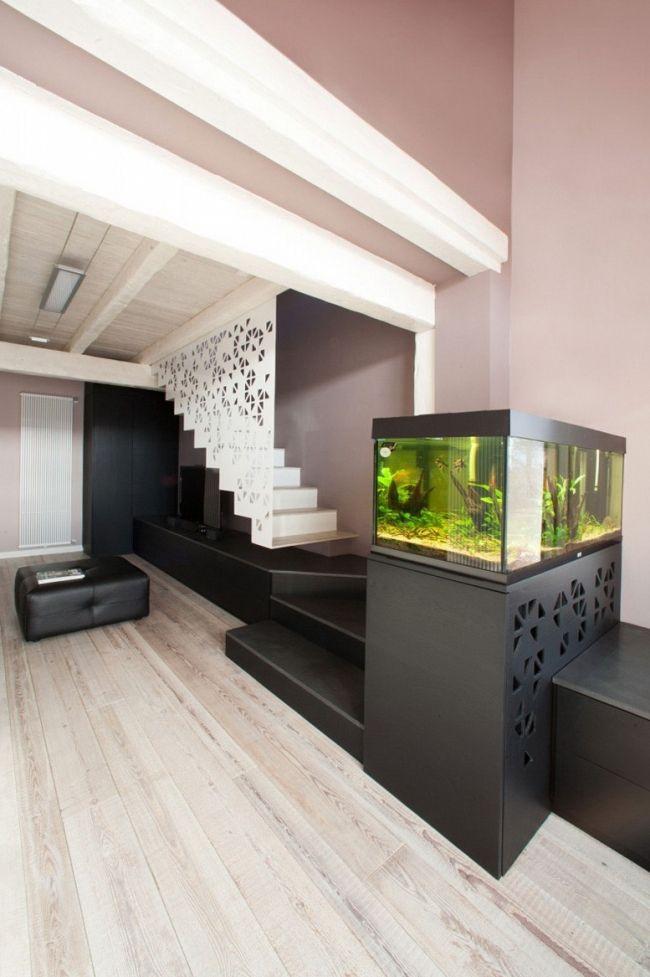 Sleek Modern Black Aquariums Design Near Staircase  Aquarium Entry