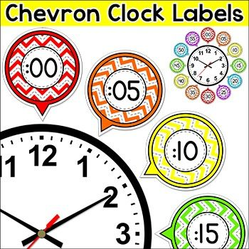 Chevron Labels - Telling Time Clock Labels: These fun chevron theme labels will look fantastic around your classroom clock! This product includes labels in 5 minute increments as well as labels for oclock, quarter past, half past, and quarter to. An editable PowerPoint file is included if you would like to change the wording  or language of the rectangular labels.Also included are 7 worksheets that you can use for centers, whole class or even homework.
