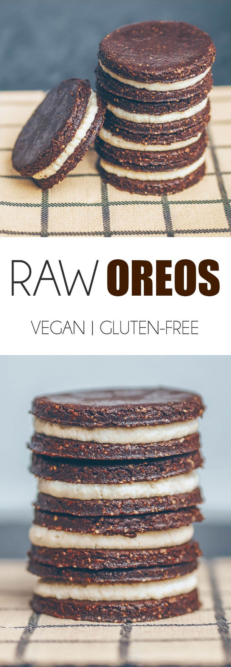 RAW VEGAN & GLUTEN-FREE OREOS Chocolate Cookie 1 cup (115g) oat flour (plain rolled oats blended into a flour in the food processor)1/2 cup (58g) cocoa/cacao powder1/4 (4 tbsp) cup maple syrup (or any other liquid sweetener)2.5 tbsp melted coconut oil1/4 tsp salt Cashew Cream 3/4 cup (90g) cashews - soaked in water for at 8 hours or overnight1.5 tbsp maple syrup (or any other liquid sweetener)1 tbsp coconut oil1 tbsp milk of choice1/2 tsp vanilla extractPinch salt
