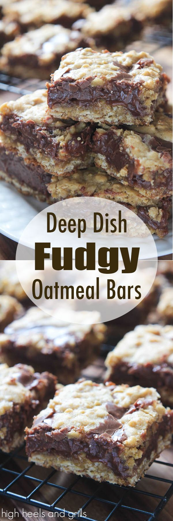 Deep Dish Fudgy Oatmeal Bars. Delicious and easy dessert recipe. http://www.highheelsandgrills.com/2015/01/deep-dish-fudgy-oatmeal-bars.html