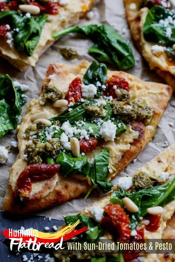 Hummus Flatbread With Sun-Dried Tomatoes & Pesto,  Go Greek by doing a cucumber,…