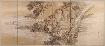 Six-fold screen depicting a drinking tigerfront, front