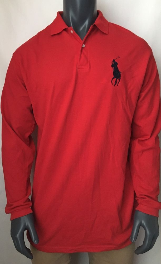 Polo Ralph Lauren Men's Shirt Sz XXL Red Big  Pony Long Sleeve 100% Cotton #RalphLauren #PoloRugby