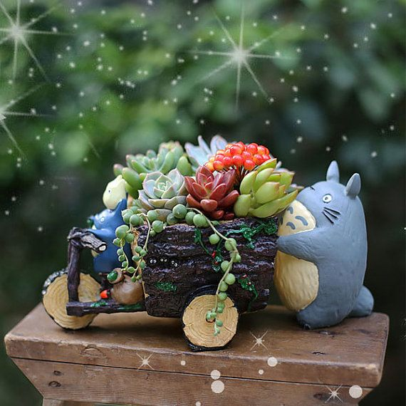 Ghibli Studio My Neighbor Totoro Push Car Planters Totoro Pot Succulent Planters Miniature Garden Container Storage Box