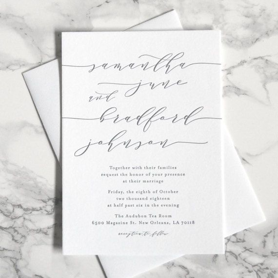 FLAT SAMPLE Samantha Wedding Invitation by luckypennypaperie