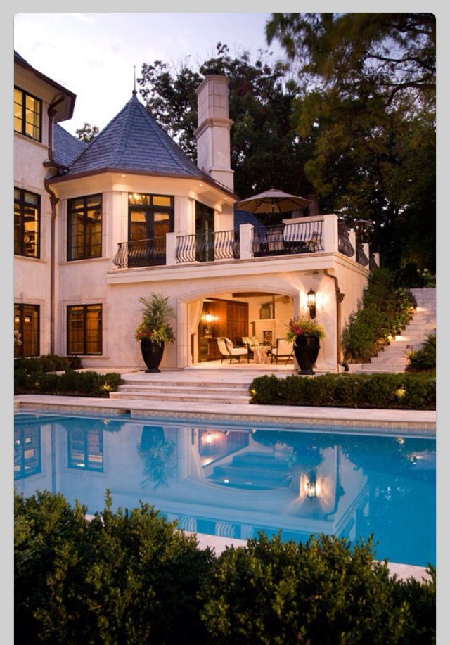 Pool amazing big house dream house balcony dream for Beautiful dream homes