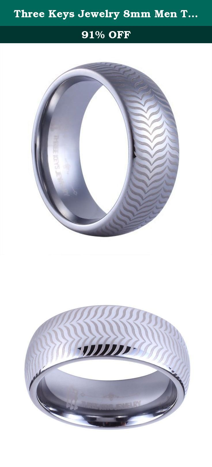 Three Keys Jewelry 8mm Men Tungsten Carbide Ring Wedding Engagement Band Silver Dome Matte Frost Polish Laser Car Tire Size 10. Why choose Three Keys Jewelry store to purchase? NO.1: Amazon Authentication Brand;(Guaranteed Quality ) NO.2: True & Pure Tungsten Material;(Scratch Proof & Hypoallergenic & Never Fade) NO.3: Comfortable & Exquisite & Amazon Unique Design;(High Polish & Comfort Fit) NO.4: Free & Lovely and Valued Gift Box; NO.5: Amazon Excellent and Fast Delivery;(Next,Second…