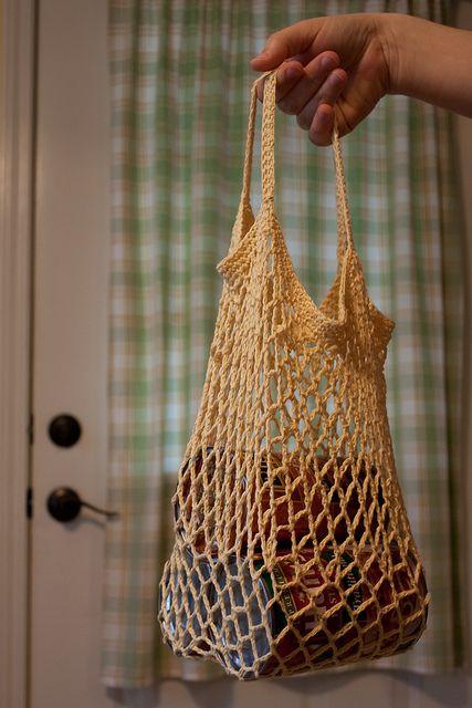 Crochet Mesh Bag by MossyOwls, via Flickr