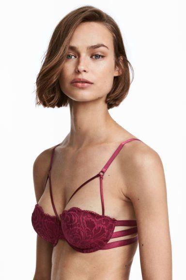 Sutien balconette de dantelă - Roșu-burgund - FEMEI | H&M RO 1
