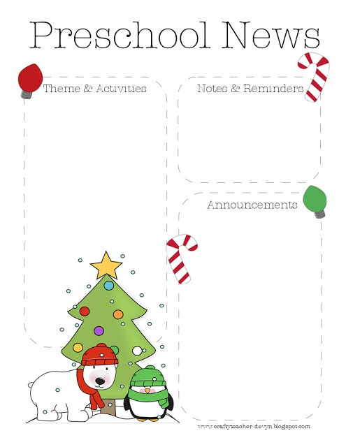 Christmas Preschool Newsletter Template | The Crafty Teacher