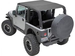 All Things Jeep - Outback Extended Bikini Top, Jeep Wrangler TJ (1997-2006), Black Mesh