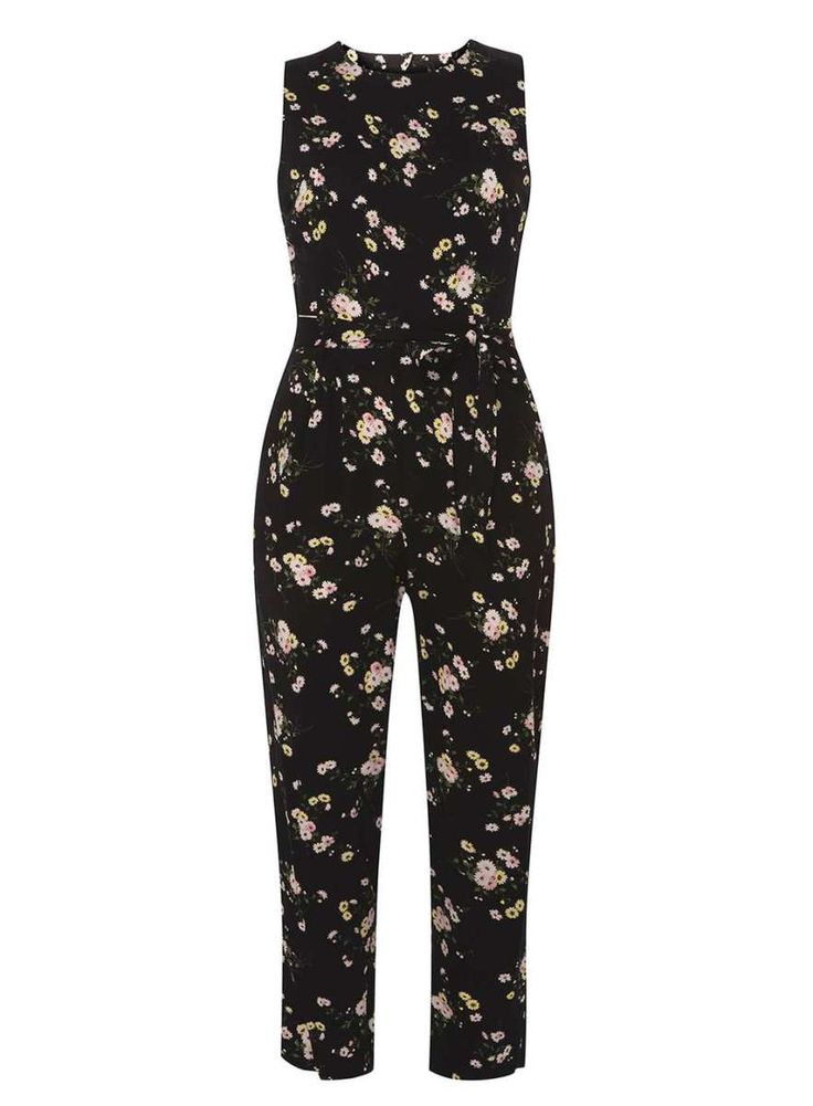 Petite Black Ditsy Floral Jumpsuit with pockets.   #wewantpockets #pocketsrock www.pocketsrock.com; playsuits with pockets; rompers with pockets; jumpsuits with pockets.  The Pockets Rock site contains affiliate links. If you make a purchase after following a link from the site, Pockets Rock may receive a small commission.