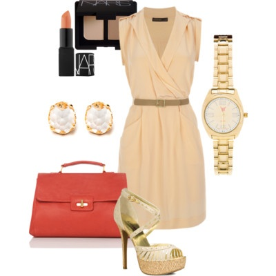 Pin to Win $500! The perfect office outfit this summer contains warm neutrals and gold accents. Enter here: https://www.facebook.com/justfab/app_137377669785610?ref=ts