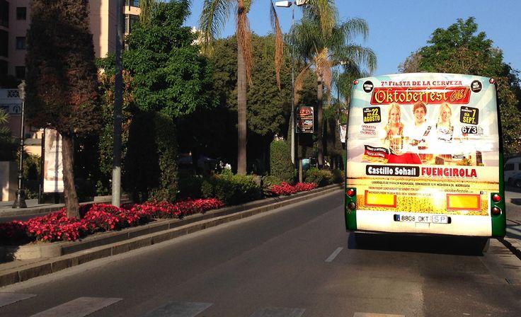 Campaña publicitaria en los autobuses publicitarios interurbanos de Marbella y Fuengirola para la 7ª Fiesta de la Cerveza Oktoberfest que se celebrará en el Castillo de Sohail de Fuengirola desde el día 22 de Agosto al 7 de septiembre de 2014.
