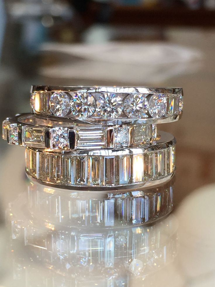 Custom stackable diamond bands with round and baguettes!