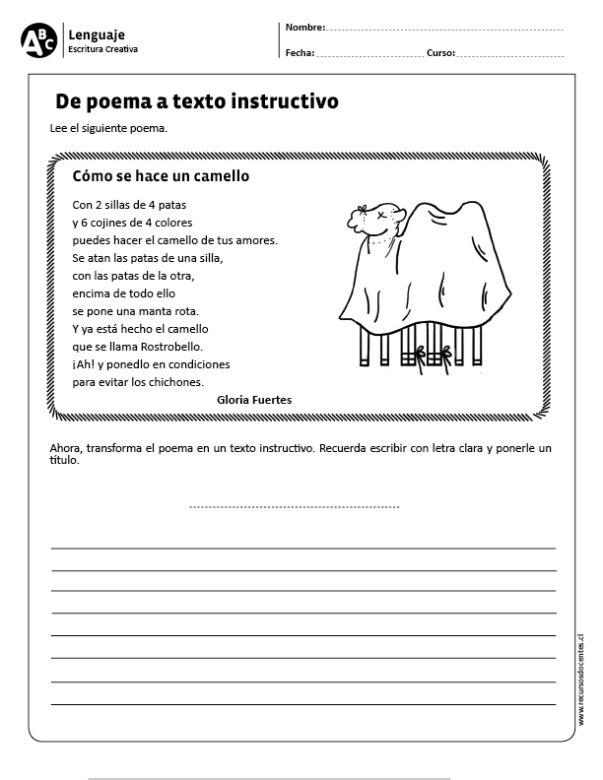 De poema a texto instructivo