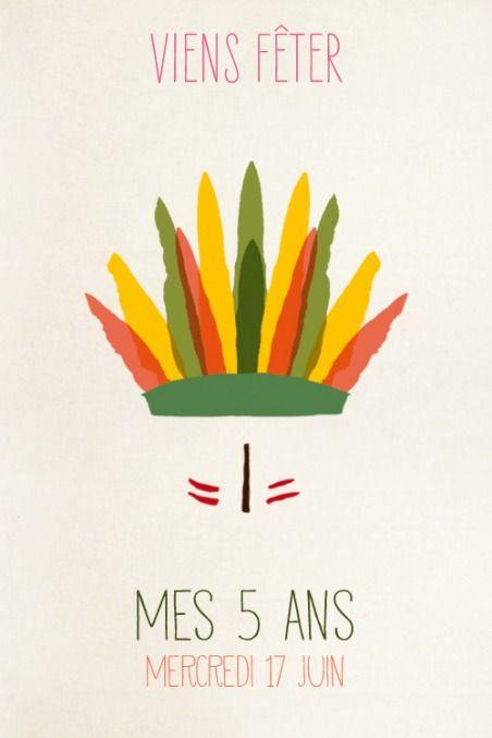 Carte d'anniversaire Indiens photo by ÉLÉPHANT (rose) pour www.fairepartnaissance.fr #birthday #kids #invitation