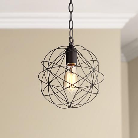 La Joya 9 1 2 Wide Orbital Bronze Mini Pendant